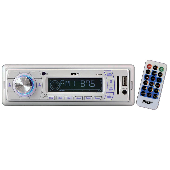 """Pyle New Marine White Radio USB SD Slot w//6.5/"""" White Speakers and Stereo Cover"""